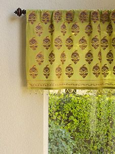 Memories of Shalimar  ~ Asian Green Beaded Window Valance