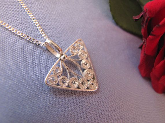 Sterling Silver 925 Handmade Trigon Necklace Filigree by leylaks