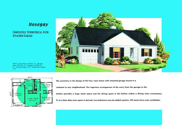 1950s floor plan and rendering of Minimal Traditional modern style house called Nosegay - Photo © Buyenlarge/Getty Images. Select the image to view full size in a new window.
