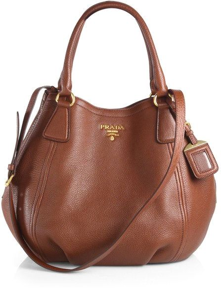 68dcce242bb5 Prada Daino Convertible Satchel in Brown (MARRONE-BROWN)