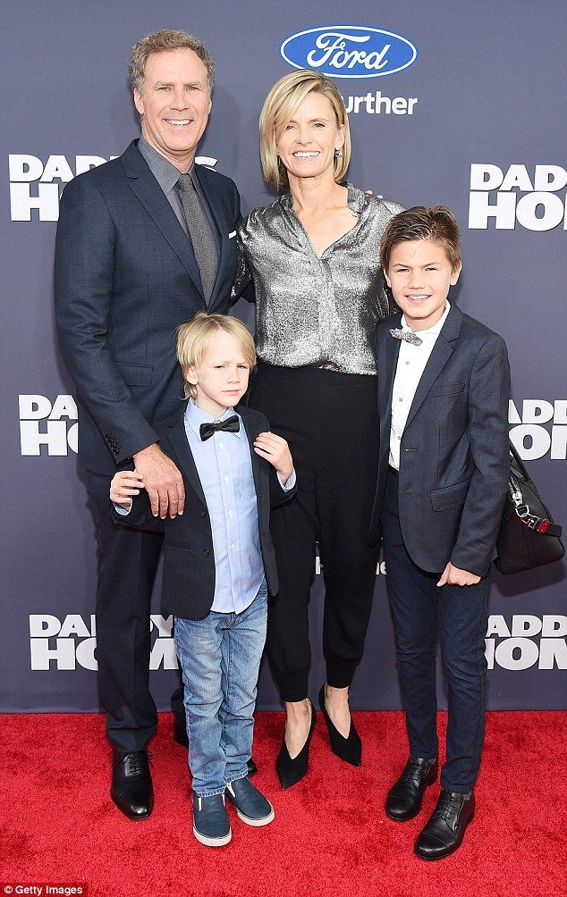 Family: Will Ferrell was accompanied by wife Viveca Paulin and their sons Axel, front, and Mattias, right, at the premiere of his new comedy Daddy's Home