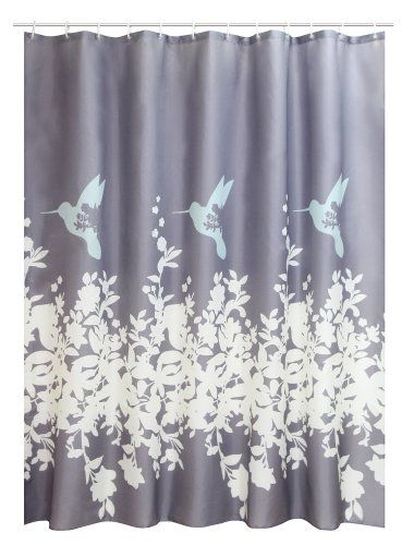 "Textil Duschvorhang 180 x 200 cm Motiv "" Kolibri "" grau inklusive Duschringe"