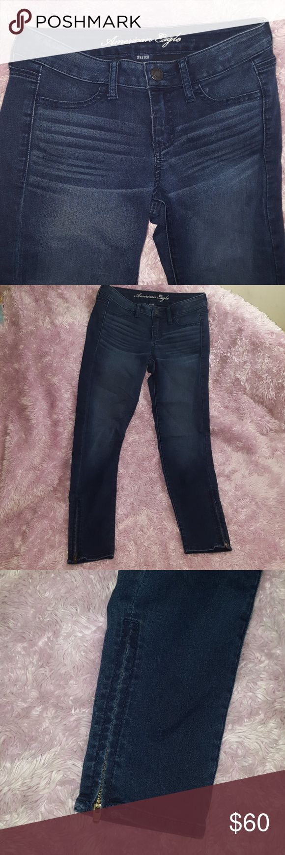 JEGGING Jeans w/ Zipper Ankle NEW American Eagle JEGGING Jeans w/ Zipper Ankle NEW without Tags by American Eagle. Size 2 regular. 69% cotton 29% polyester 2% spandex. Darker wash with the lighter whiskered effects. Zipper at ankles! HOT STYLE FOR THIS SEASON! I ship daily (#B2 location) American Eagle Outfitters Jeans