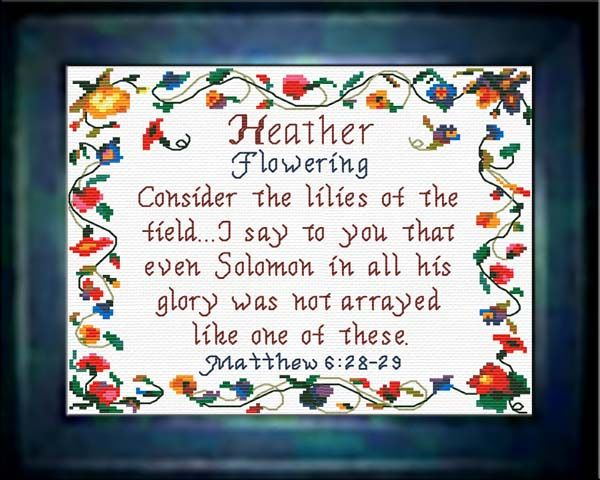 Cross Stitch Heather with a name meaning and a Bible verse