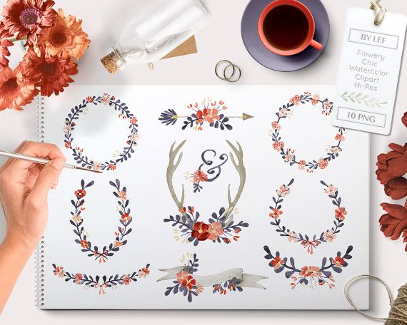 By Lef graphics on Etsy watercolor wreath clipart flower clipart wedding clipart watercolor antlers floral watercolor clipart floral clipart flower clipart by ByLef