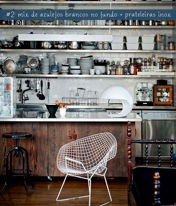 open shelves + stainless steel: Kitchens Shelves, Open Shelves, Kitchens Design, Industrial Kitchens, Interiors, Loft, New York, Open Kitchens, Open Shelving