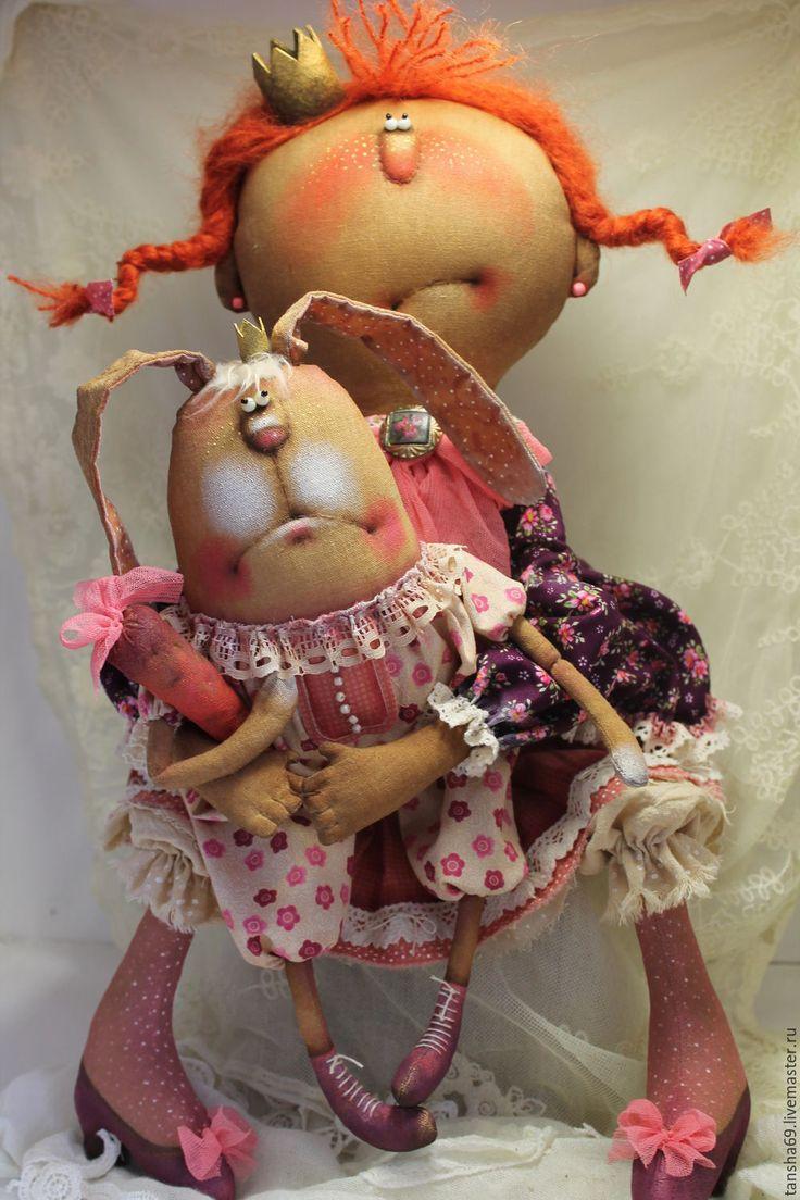 Купить Принцесска и Зай с моркофкой! - комбинированный, текстильная кукла, ароматизированная кукла, интерьерная кукла, зайка