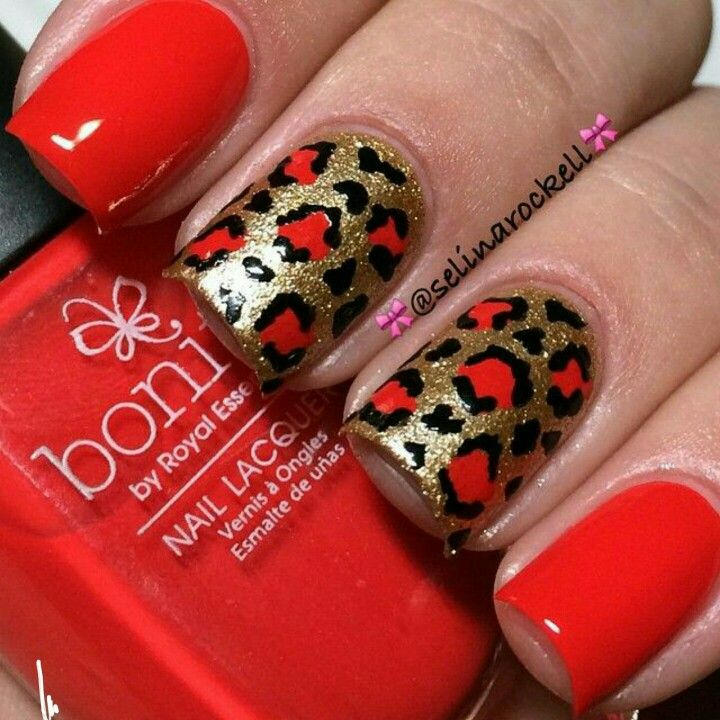 gold. red leopard nails nail