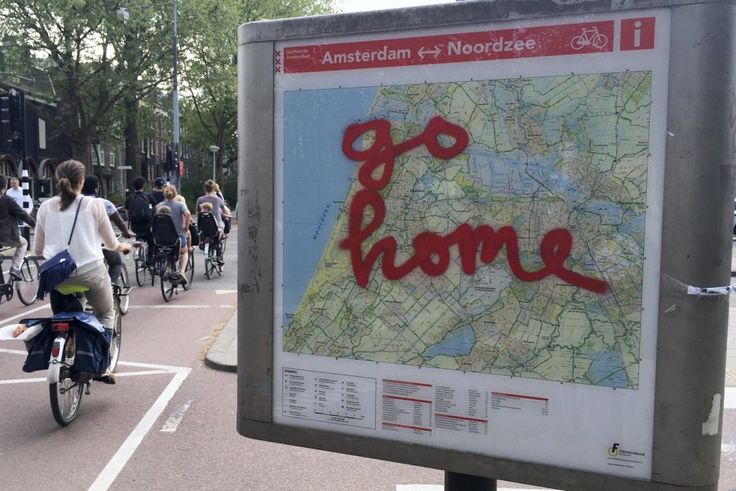 Amsterdam Is Still Working on Its Own Solution to Overtourism  In this May 11 2016 photo graffiti reading Go Home is sprayed on a map of bicycle paths at the entrance to Amsterdams Vondelpark a popular spot for tourists to ride their rental bicycles. Peter DeJong / Associated Press  Skift Take: Like many other cities Amsterdam knows it needs to do something about overtourism but has yet to find a complete solution.   Patrick Whyte  A group of cyclists slams on the brakes as a man pushing a…