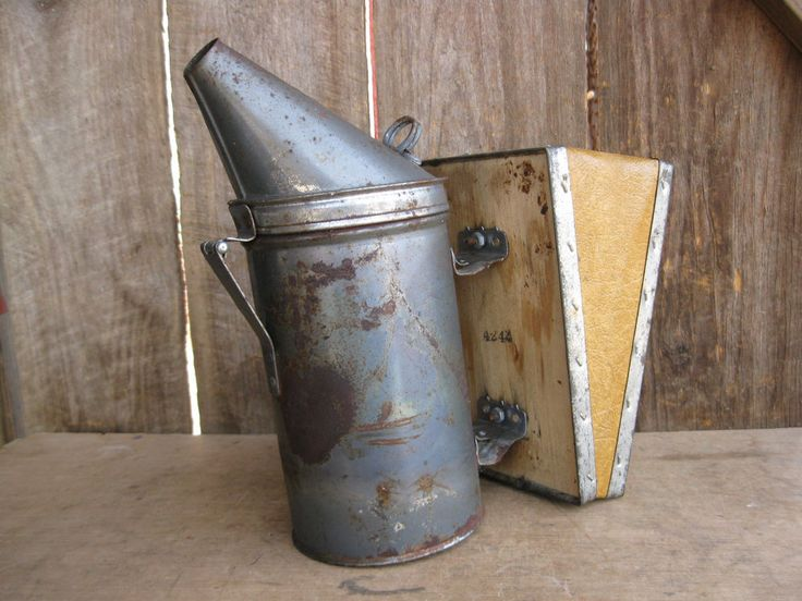 Vintage Bee Smoker Tin Pot Wooden Bellows  Great patina #country #unknown