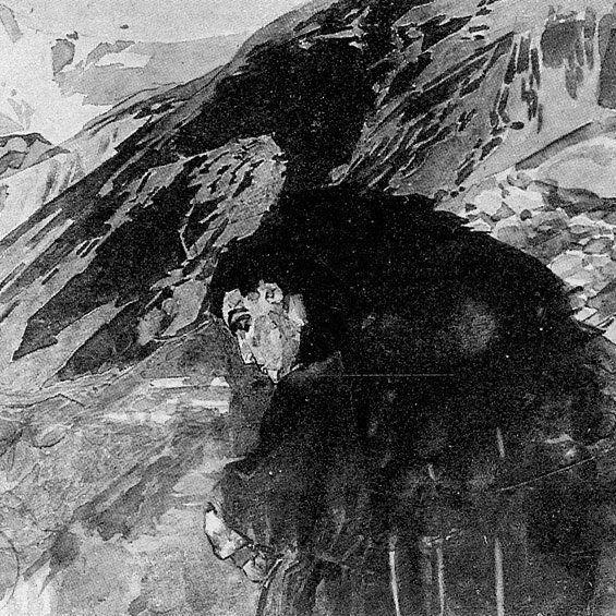 Михаил Александрович Врубель 1856-1910 .  Демон смотрящий в долину Арагвы 1880 е by andreylomaevart