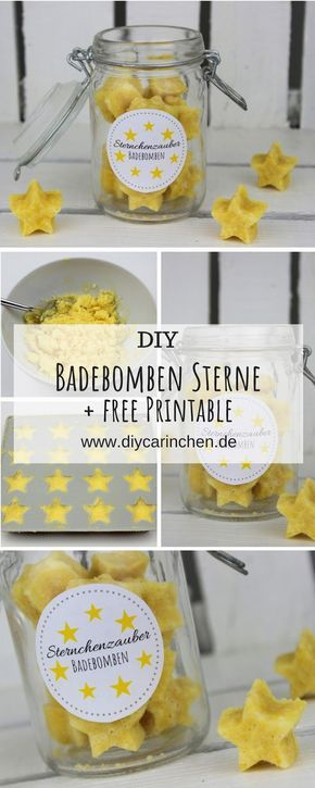 DIY bath bombs in star shape make yourself – a great gift idea in the glass for Christmas + free template