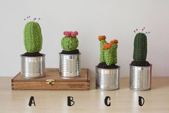 Knit Cactus  Knitted Cactus Fake plant Cactus Pincushion
