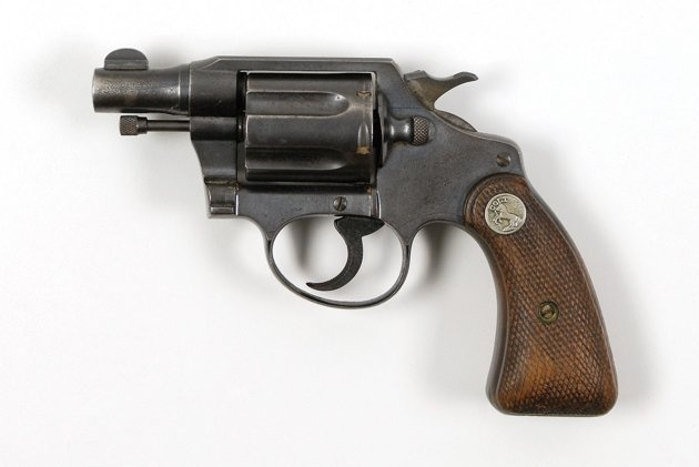 Bonnie Parker's personal, concealed Colt .38 snub-nose detective special revolver, which was found post-mortem taped to her inside thigh with white medical tape. The ambush happened so fast that she did not even have a chance to retrieve it from its intimate hiding place.