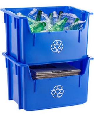 Stacking recycle bins at the Container Store!