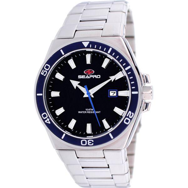 Men's Black Dial Stainless Steel - Seapro Watch