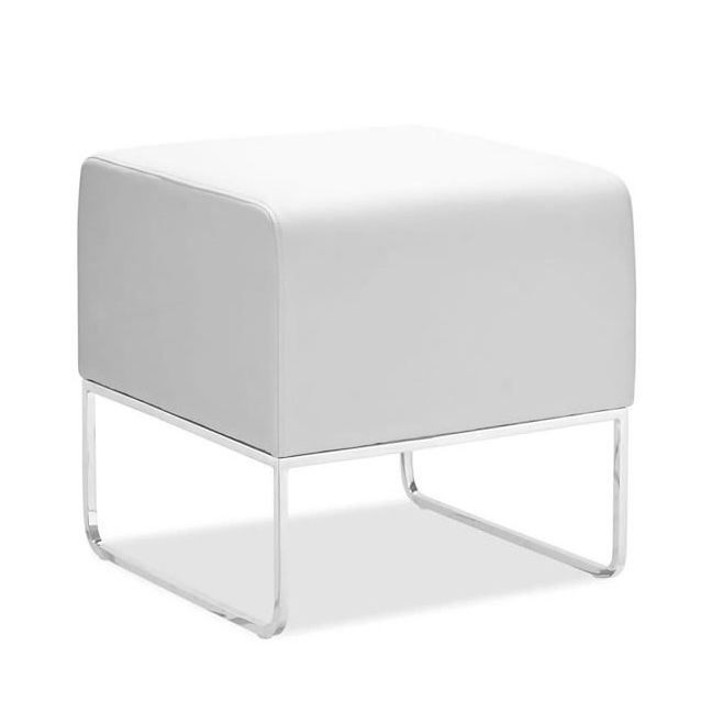 White Leatherette Ottoman   dotandbo.com -Movable seating for conversation area