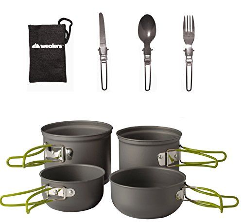 Wealers Cookware 7 Pieces Kit Cookset Backpacking Gear  Hiking Outdoors Cooking Equipment  Lightweight Compact  Durable Pot Pan Bowls  Free Folding Cutlery Set -- Click image to review more details.