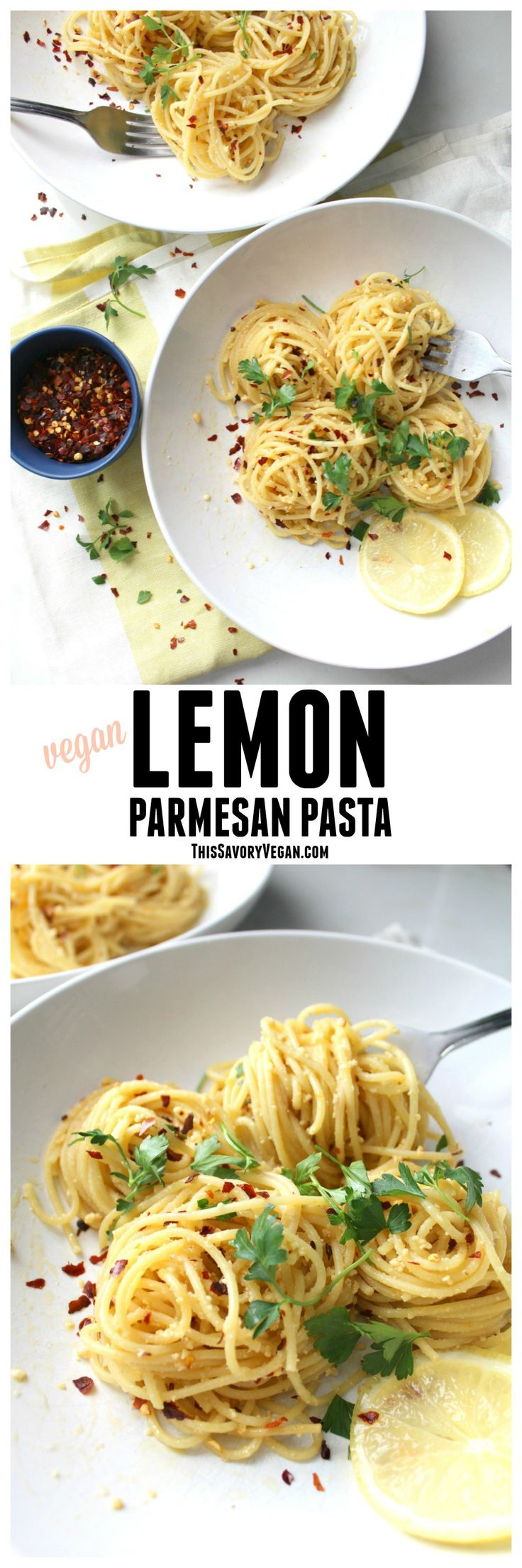 This Vegan Lemon Parmesan Pasta is a simple weeknight dinner that comes together in less than 30 minutes | ThisSavoryVegan.com