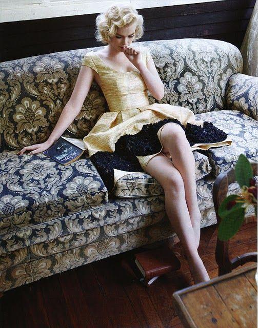platinum hair gold dress