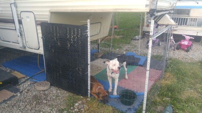 Dog cage connected to 5th  wheel camper                                                                                                                                                                                 More