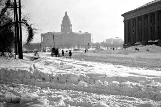 1913 record unbroken still to this day. In Denver, the 45.7 inches of snow -still a record from one storm -- was piled onto horse-drawn wagons that were unloaded at Civic Center Park. It took weeks to clear the roads. This photo shows the capitol building and the Denver Public Library just to the right. One thing is for sure, we know snow~ Western History/Genealogy Dept., Denver Public Library.