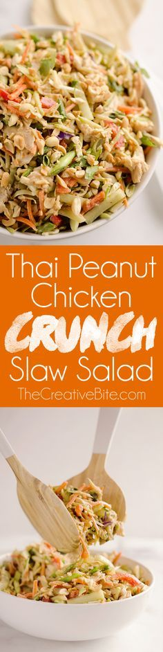Thai Peanut Chicken Crunch Slaw Salad is an easy & healthy 20 minute salad that is loaded with fresh flavor and crunch! Coleslaw and broccoli slaw are tossed with cucumbers, carrots, bell peppers and chicken and dressed with a homemade Thai Peanut Sauce for a hearty serving of vegetables in a dairy-free salad you will love. #ThaiPeanut #Chicken #Salad