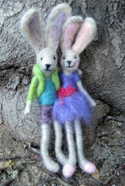 needle felting rabbits
