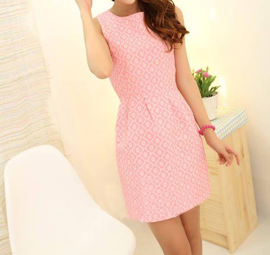 Sleeveless Scoop Neck Jacquard Embroidered Dress for under $15 | RoseGal.com