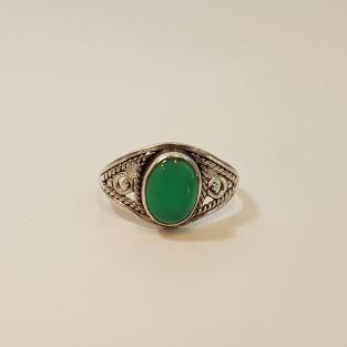 Caragan - 925 Zilveren ring met Groene Onyx