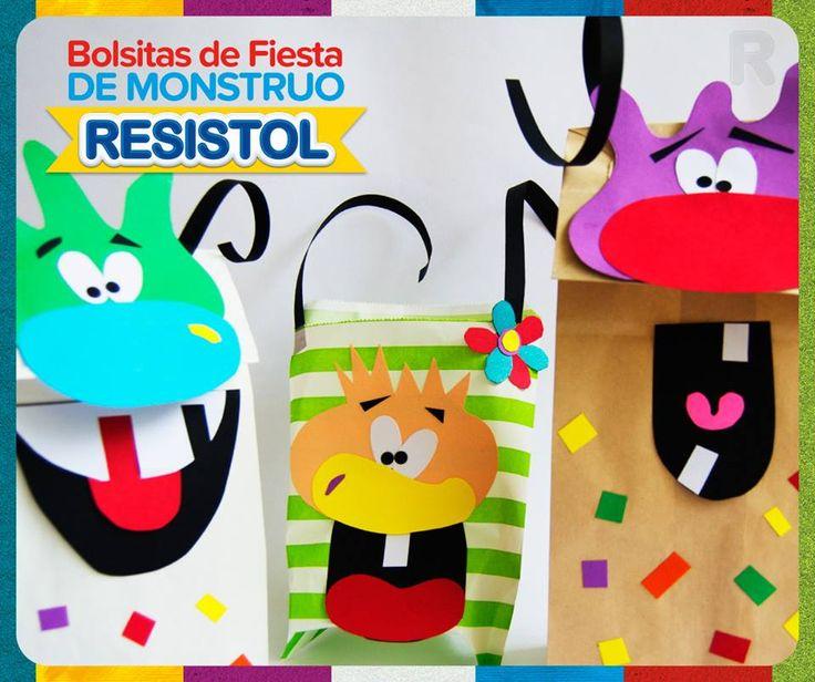 Dale un toque diferente y personal a tus bolsitas de fiesta con estos simpáticos monstruos. Muy originales y fáciles de hacer. #Resistol #MundoResistol #BolsasFiesta #Fiesta