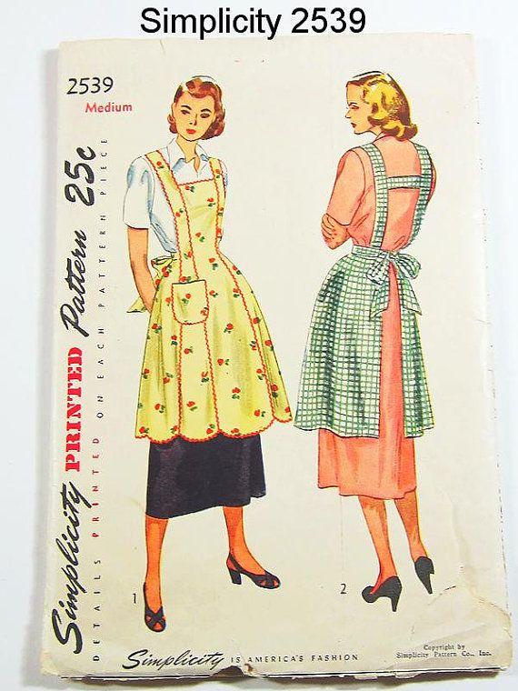 Vintage Apron Pattern Simplicity 2539 Vtg by ThePatternSource, $35.00