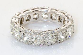Henri Daussi Cushion Cut Diamond Wedding Ring in 14 Karat White Gold