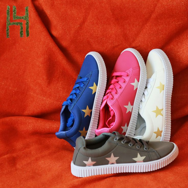 3 Stars Printing PU leather Fashional Tennis shoes women