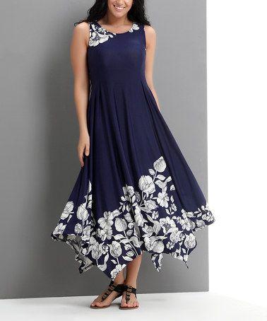Another great find on #zulily! Navy Floral Scoop Neck Handkerchief Dress - Plus #zulilyfinds