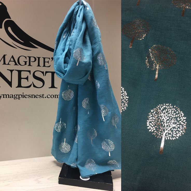 Blue foil tree print scarf available in store and on line www.mymagpiesnest.com