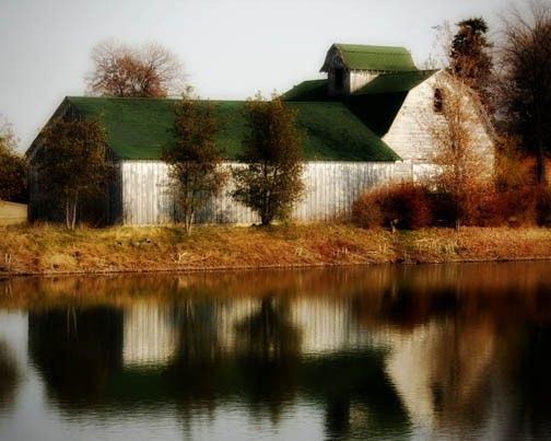 Barn Photograph white country pond autumn fall by FirstLightPhoto, $30.00 (on Etsy, firstlightphoto)