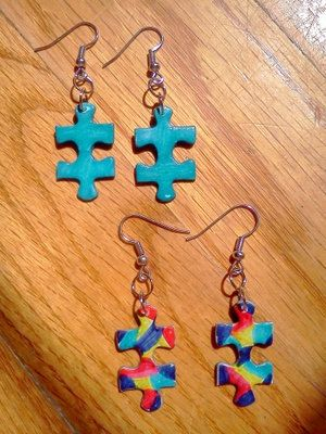Autism Awareness Puzzle Piece Earrings 100% Autism Speaks Donation. $10.00, via Etsy.