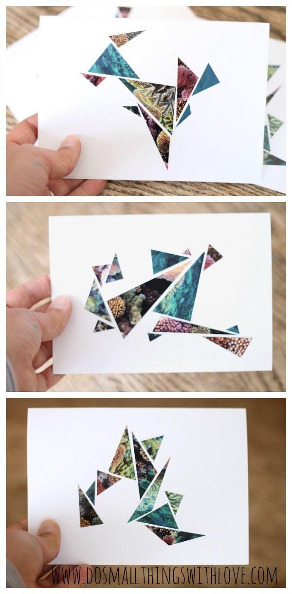 geometric magazine upcycled cards - nice idea