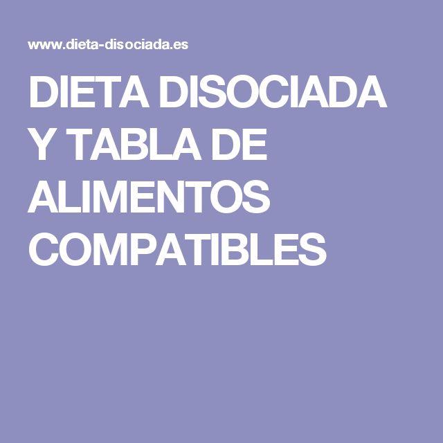 DIETA DISOCIADA Y TABLA DE ALIMENTOS COMPATIBLES