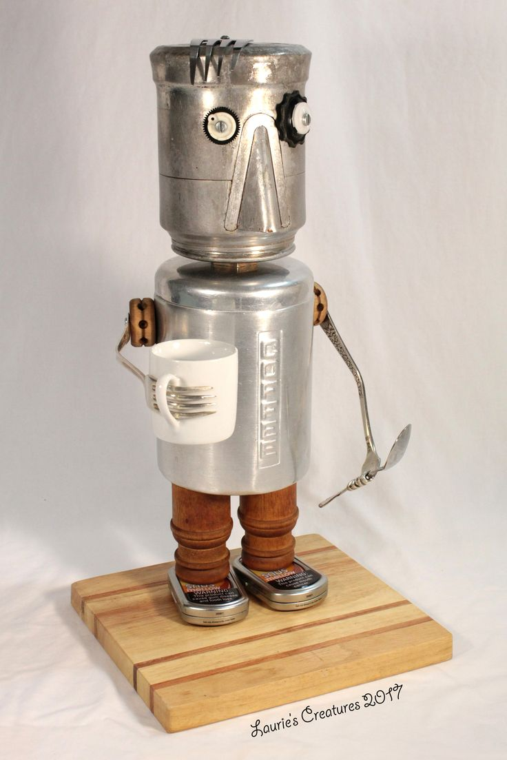 """""""Joe Coffee"""" ~ Found object art by Laurie Schnurer. The canister opens to put things inside. To purchase one of Laurie's Creatures click on this link to her sales page. https://www.facebook.com/LauriesCreatures/"""