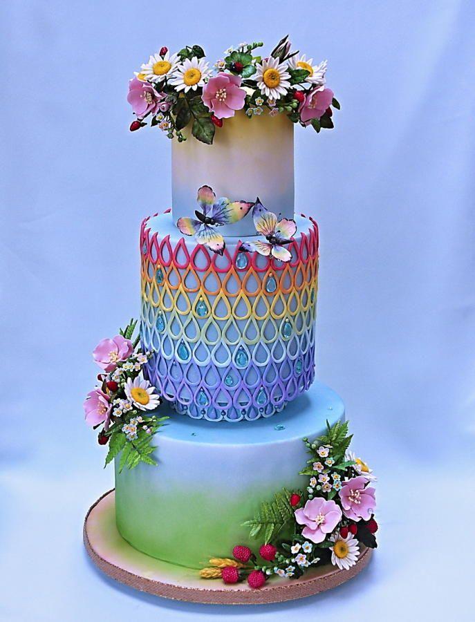summer rainbow by Bezana - http://cakesdecor.com/cakes/270024-summer-rainbow