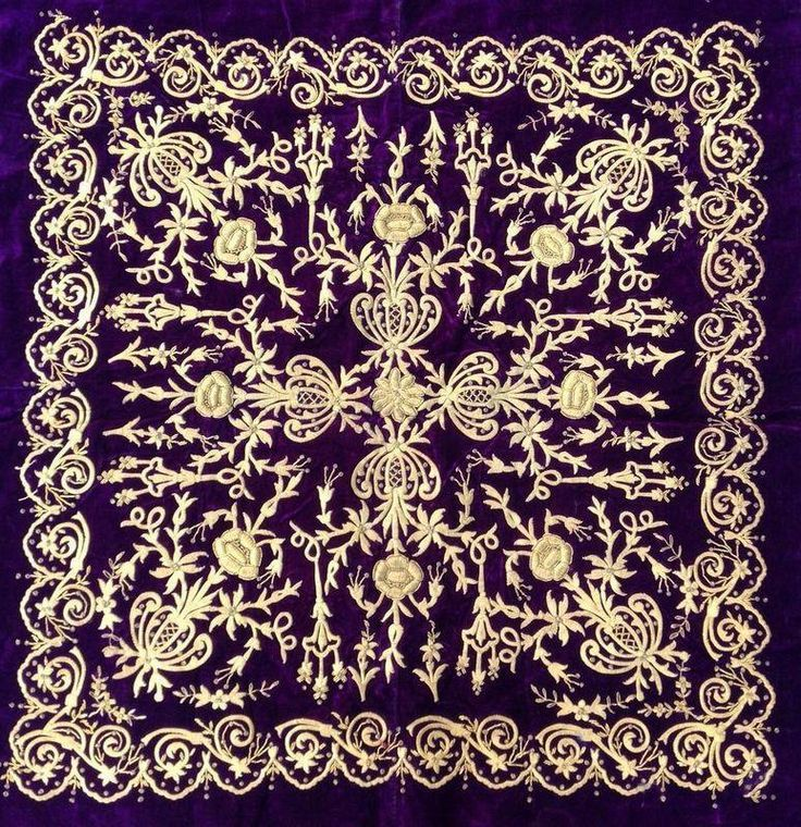 Ottoman embroidery.  'Goldwork' (Maraş işi) on velvet.  19th century.