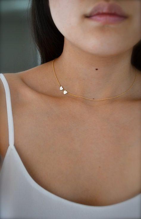 Sideways Initial Double Heart Necklace