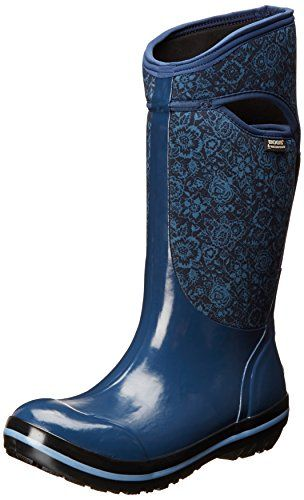 Bogs Women's Plimsoll Quilted Floral Tall Waterproof Insulated Boot, Indigo,6 M US >>> More info could be found at the image url.