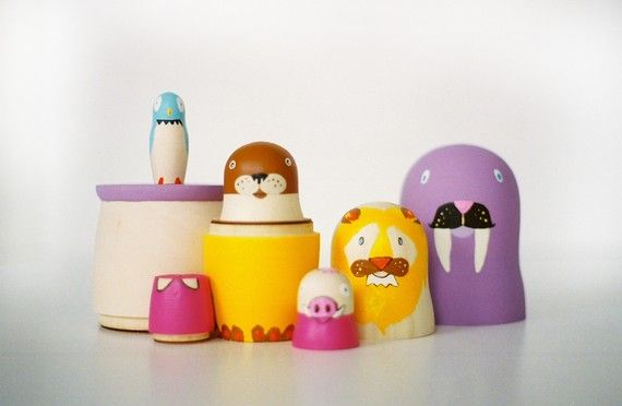 6 nesting dolls // five animals by bneiman on Etsy, $75.00