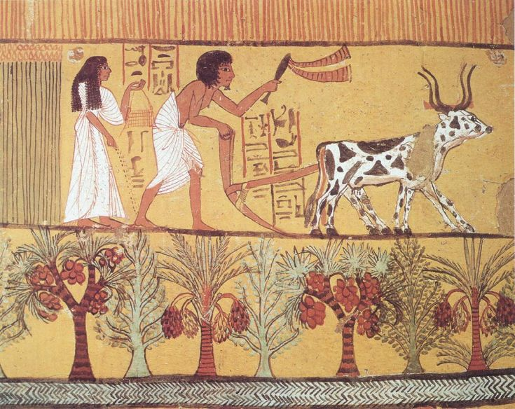 Sowing and Plowing in the Fields – Tomb of Sennedjem, Thebes (19th Dynasty: 1200s BC)