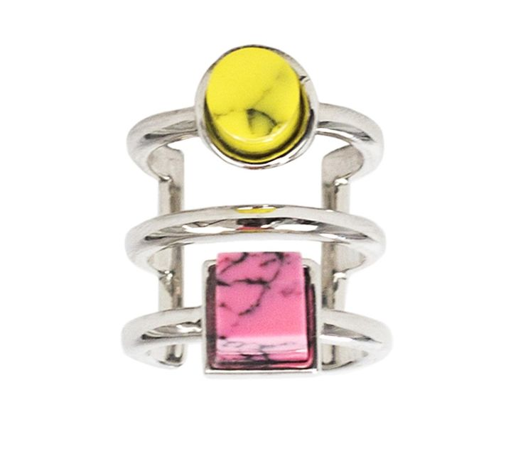 BTS 10 Midi Ring with Yellow and Pink Eshvi Rhodium plated adjustable midi ring with yellow and pink resin marble details The Box Boutique, This Must Be The Place, E-commerce, Fashion, Luxury Brands, Free UK DELIVERY, International Shipping, Buy Now, Jewelry, Women's Fashion