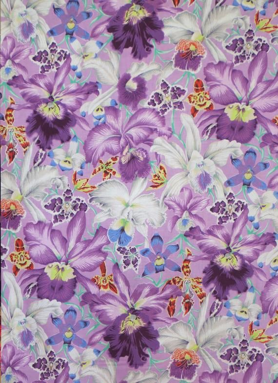 Stunning Shades Of Lavender Large Orchid Print Pure Cotton Fabric By The Yard Purple Flowers Fabric Kaffe Fassett Fabric Cotton Quilting Fabric