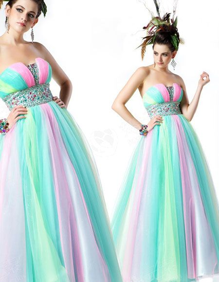 You can find this fun mint, pink, and yellow ballgown at Bravura! Mint is the hottest color this season!